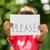 lány · felirat · elmosódott · tart · darab · papír - stock fotó © bigandt