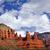 madonna nuns orange red rock canyon big blue cloudy sky sedona a stock photo © billperry