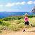 heureux · femme · sentier · courir · belle · montagnes - photo stock © blasbike