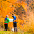 Couple hiking with map in autumn forest stock photo © blasbike