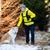 счастливым · женщину · ходьбе · зима · лес · собака - Сток-фото © blasbike