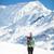 güzel · genç · turist · kız · sırt · çantası · dağlar - stok fotoğraf © blasbike