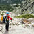 Woman hiking with backpack in Corsica mountains stock photo © blasbike