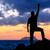 uomo · escursioni · silhouette · montagna · Ocean · tramonto - foto d'archivio © blasbike