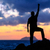 man · wandelen · silhouet · bergen · oceaan · zonsondergang - stockfoto © blasbike