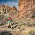 jonge · vrouw · lopen · bergen · landschap · zonnige - stockfoto © blasbike