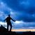 adam · yürüyüş · siluet · dağlar · gün · batımı · özgürlük - stok fotoğraf © blasbike