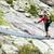 vrouw · trekking · rugzak · brug · wandelen · bergen - stockfoto © blasbike