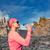 kadın · iz · koşucu · içme · dağlar - stok fotoğraf © blasbike