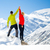 couple hiking man and woman success in winter mountains stock photo © blasbike