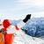 hiking success woman in winter mountains stock photo © blasbike