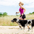 woman runner running walking dog in summer nature stock photo © blasbike