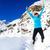gelukkig · vrouw · springen · winter · bergen · actief - stockfoto © blasbike