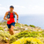 mountain running man in inspirational landscape stock photo © blasbike