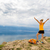 femme · randonnée · sac · à · dos · montagnes · au-dessus · voir - photo stock © blasbike