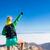 vrouw · wandelen · succes · armen · berg · top - stockfoto © blasbike