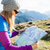 woman reading map in mountains stock photo © blasbike