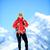 caminhadas · sucesso · mulher · inverno · montanhas · fitness - foto stock © blasbike