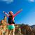 vrouw · wandelaar · armen · genieten · bergen · schoonheid - stockfoto © blasbike