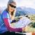 kobieta · turysta · czytania · Pokaż · góry · młoda · kobieta - zdjęcia stock © blasbike
