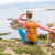 femme · randonnée · marche · chien · mer · paysage - photo stock © blasbike