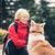 boldog · nő · kirándulás · sétál · kutya · mosolygó · nő - stock fotó © blasbike