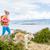 heureux · femme · randonnée · marche · chien - photo stock © blasbike
