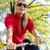 nő · ingázás · bicikli · másfelé · néz · város · boldog - stock fotó © blasbike