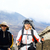 Couple trekkers hiking in mountains stock photo © blasbike