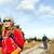 wandelaar · paar · backpackers · wandelen · bos · pad - stockfoto © blasbike