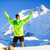 Man hiker or climber achievement in winter mountains stock photo © blasbike