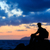 hiking silhouette backpacker man trail runner in mountains stock photo © blasbike