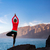 vrouw · mediteren · yoga · boom · pose · silhouet - stockfoto © blasbike