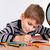 chłopca · praca · domowa · Kalkulator · obok · odizolowany · biały - zdjęcia stock © bloodua