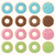 collection of sixteen glazed colorful donuts with different flavors vector illustration stock photo © bluelela