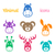 colorful vector animal face icons stock photo © blumer1979