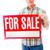 idős · férfi · mutat · vásár · felirat · piros - stock fotó © bmonteny