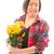 dahlia · zonnebloemen · geïsoleerd · witte · bloemen · oranje - stockfoto © bmonteny