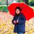 kislány · eső · gyermek · pöttyös · esernyő · visel - stock fotó © boggy