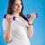terhes · nő · testmozgás · súlyzók · nő · otthon · fitnessz - stock fotó © boggy