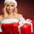 mooie · jonge · vrouw · kerstman · kleding · geschenk · grijs - stockfoto © bogumil