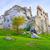 the ruins of old medieval castle on rocks surrealistic landscap stock photo © bogumil