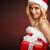 cute · kerstman · meisje · geschenkdoos · gezicht · model - stockfoto © bogumil