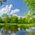 spring landscape with narew river and clouds on the blue sky stock photo © bogumil