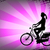 female bicyclist on the abstract purple background stock photo © bokica