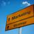 estratégia · de · marketing · placa · sinalizadora · negócio · estrada · nuvem · quadro · de · avisos - foto stock © borysshevchuk