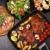 ビーフステーキ · 野菜 · フォーク · 食べ · カモ · ステーキ - ストックフォト © brebca