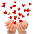 Flying hearts from cupped hands of young woman, Valentine's Day, Happy Valentines day, love concept, stock photo © brozova