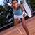 bella · giovane · ragazza · piedi · campo · da · tennis · outdoor · ragazza - foto d'archivio © brunoweltmann