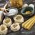 set · greggio · pasta · tavolo · in · legno · studio · foto - foto d'archivio © brunoweltmann